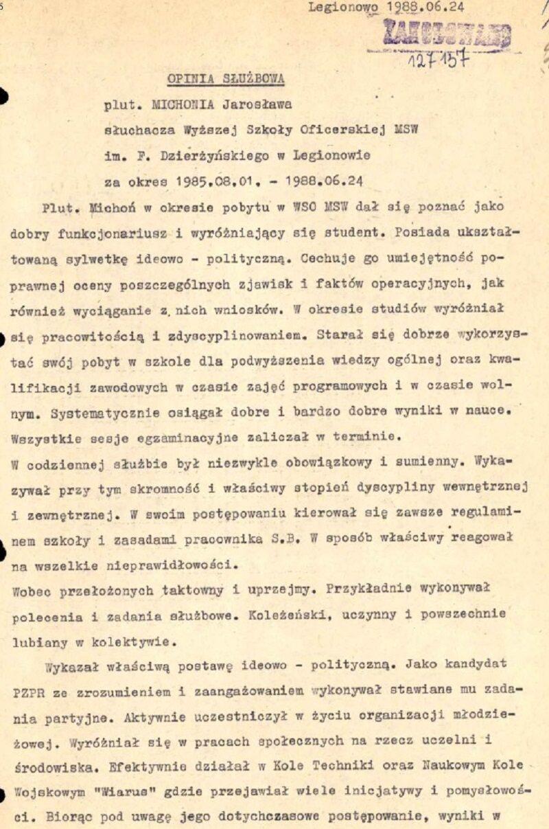 Jarosław Michoń - dokumenty
