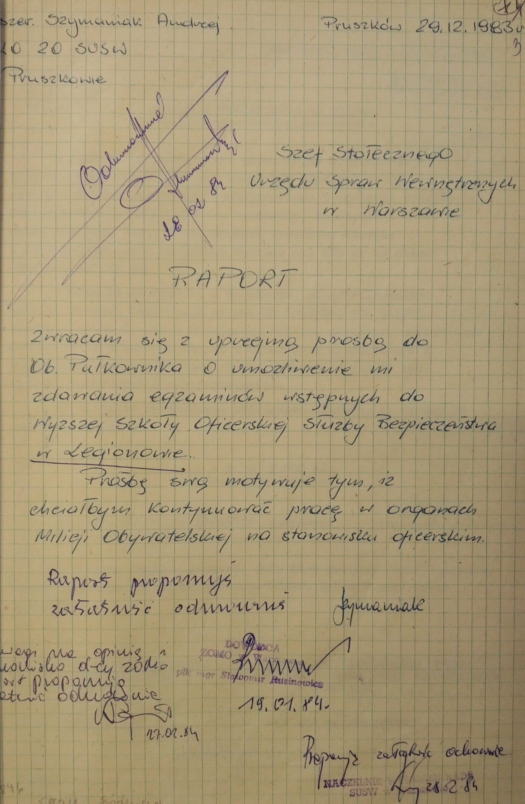 Andrzej Szymaniak - dokumenty
